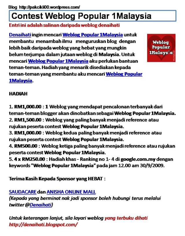 contest weblog popular 1Malaysia