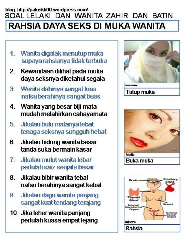 rahsia daya seks di muka wanita
