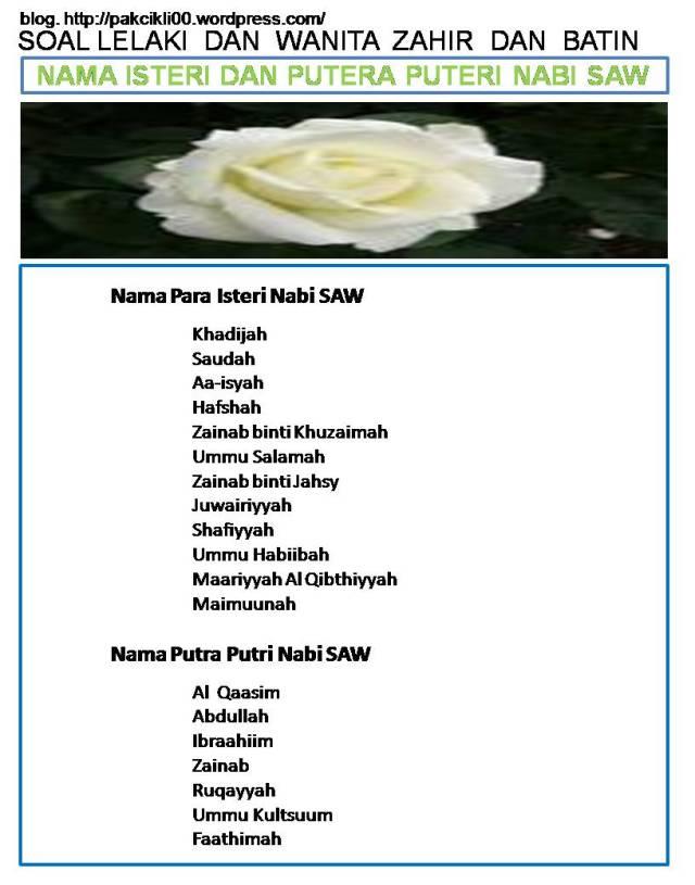 nama isteri dan putera puteri nabi saw