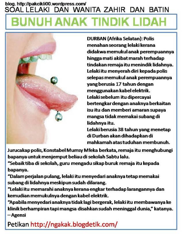 bunuh anak tindik lidah