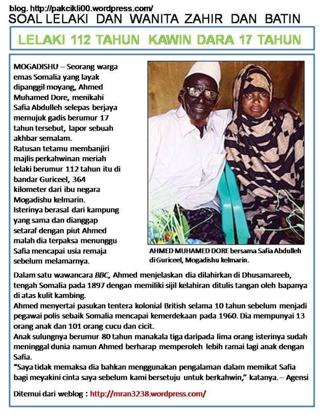lelaki 112 tahun kawin dara 17 tahun