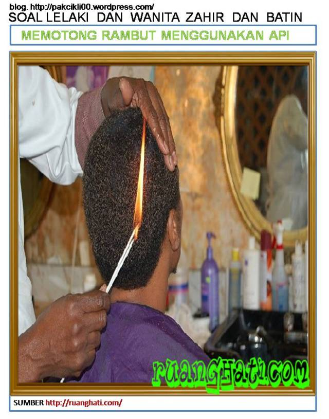 memotong rambut menggunakan api