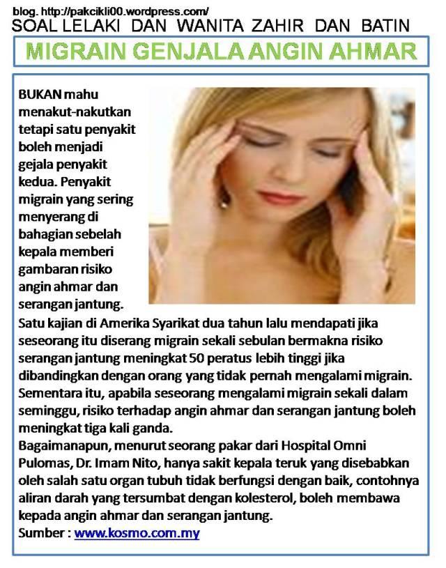 migrain genjala angin ahmar