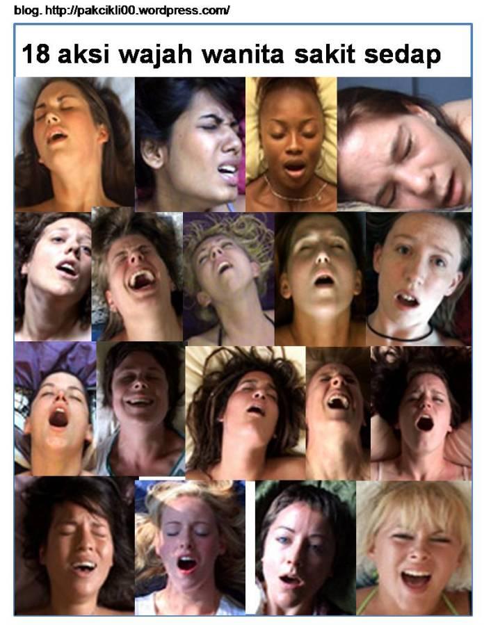 18 aksi wajah wanita sakit sedap